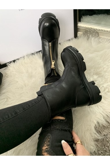 Black Chunky Zip Detail Boots