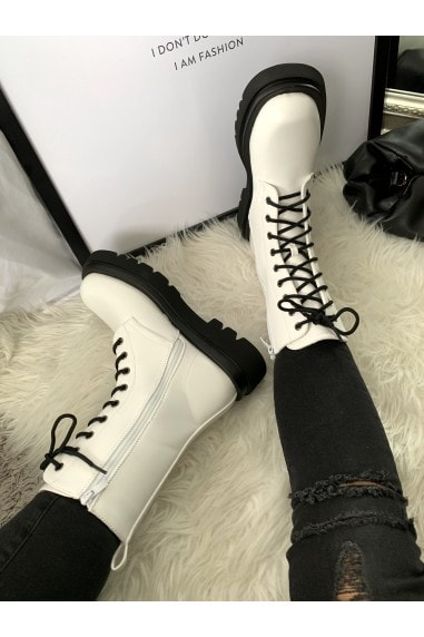White Chunky Lace-Up Boots