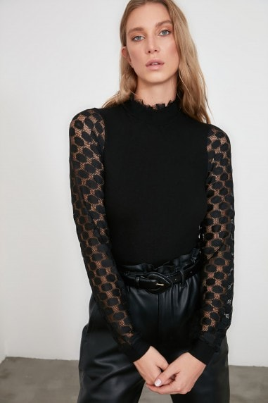 Little Mistress x Trendyol Black Sheer Sleeve Detail Knit Top