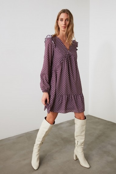 Little Mistress x Trendyol Purple V-Neck Printed Smock Dress