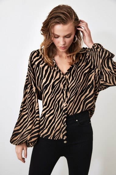Little Mistress x Trendyol Beige Zebra Printed Shirt