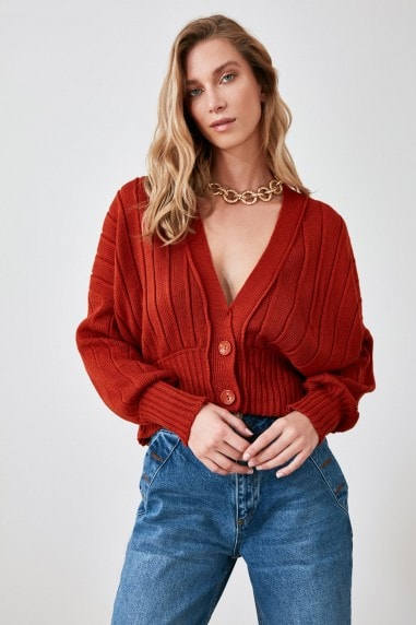 Little Mistress x Trendyol Red Button Front Cardigan