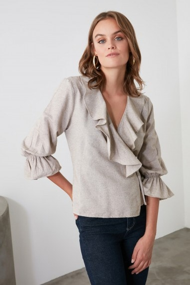 Little Mistress x Trendyol Beige Collar Detailed Blouse
