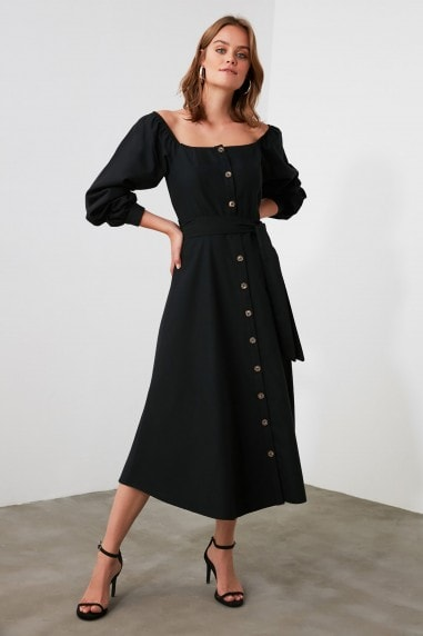Little Mistress x Trendyol Black Belted Button Detailed Dress