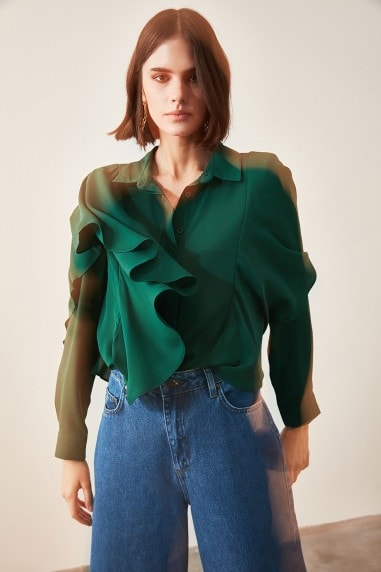 Little Mistress x Trendyol Green Shoulder Detail Shirt
