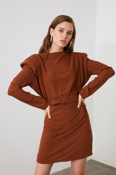 Little Mistress x Trendyol Brown Belted Shoulder Detail Dress