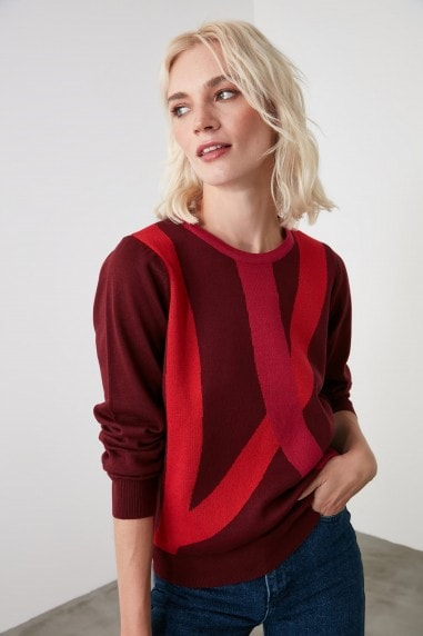 Little Mistress x Trendyol Burgundy Colour Block Knitwear Sweater