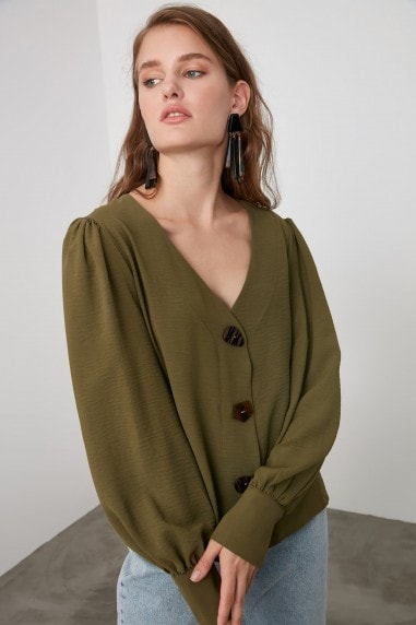 Little Mistress x Trendyol Khaki Button Detailed Blouse