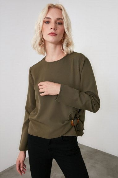 Little Mistress x Trendyol Khaki Buckle Detailed Blouse