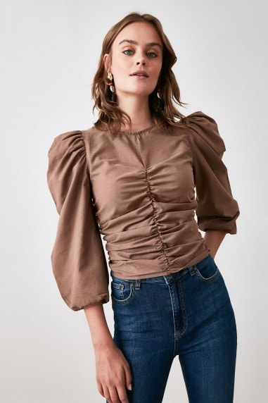 Little Mistress x Trendyol Mink Gathered Blouse