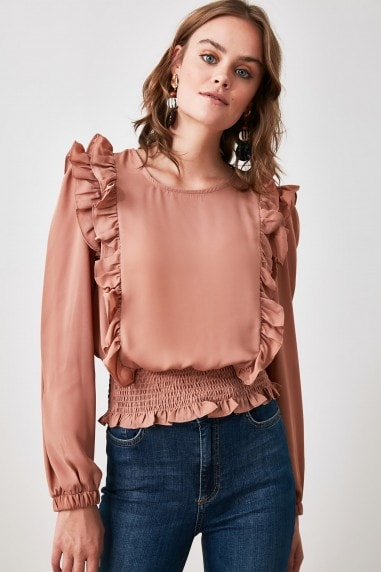 Little Mistress x Trendyol Camel Gipeli Blouse