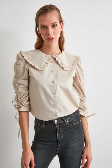 Little Mistress x Trendyol Stone Lace Striped Shirt