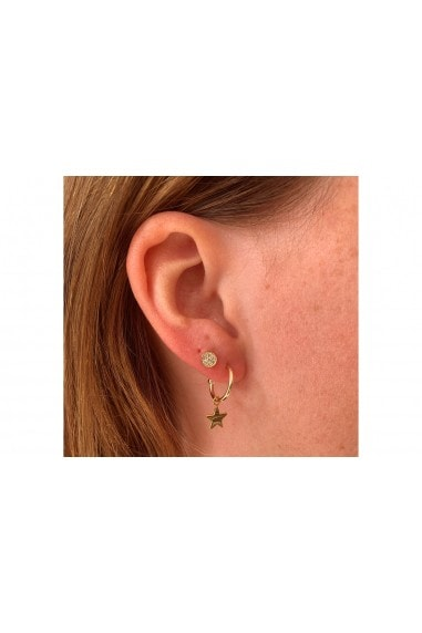 Dushku Gold Plated Sterling Silver Star Charm Hoop Earrings