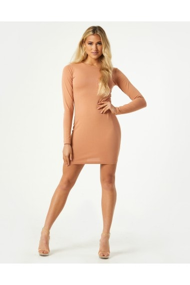 Valentin Camel Long Sleeve Bodycon Mini Dress