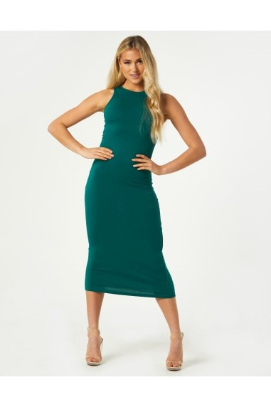 Elio Emerald Green Racer Back Bodycon Midi Dress