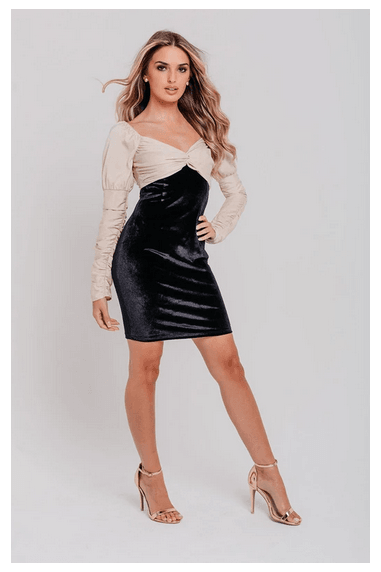 Black Velvet Champagne Contrast Top Bodycon Dress