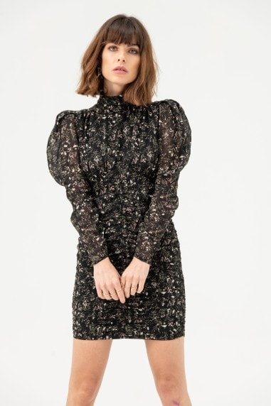 High Neck Long Puff Sleeve Mini Dress in Black Floral