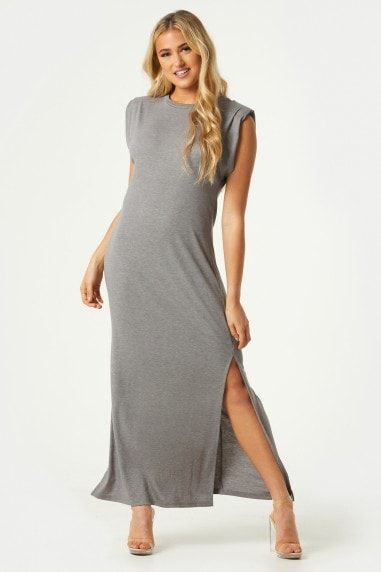 Vivi Grey Padded Shoulder Midi Dress