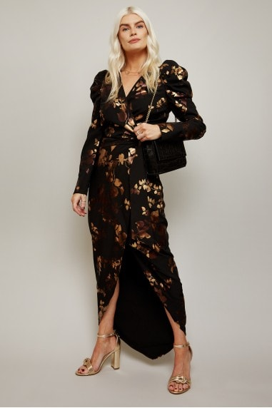 Fifi Gold Foil Tie-Waist Maxi Dress