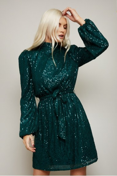 Arina Emerald Sequin High-Neck Mini Dress