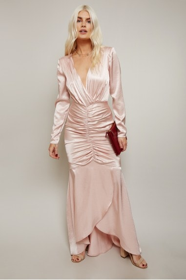 Rossella Champagne Satin Ruched Maxi Dress