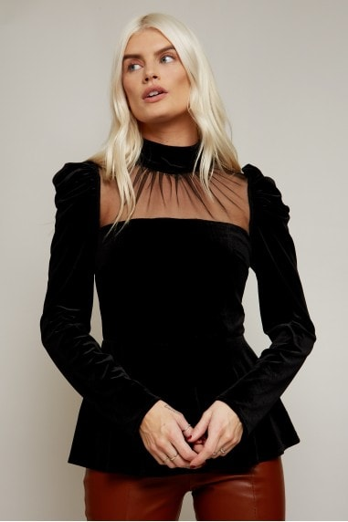 Roman Black Velvet High-Neck Peplum Top