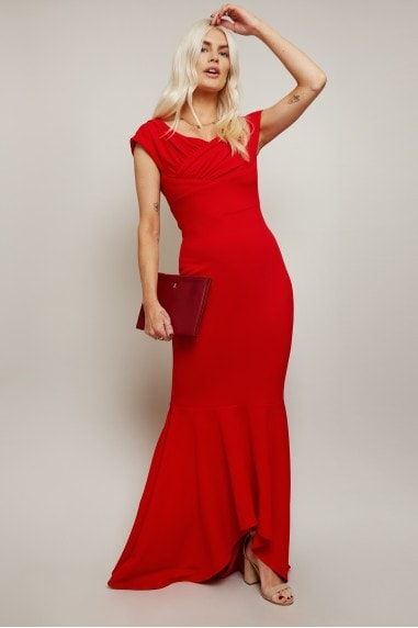 Noemi Red Bardot Fishtail Maxi Dress