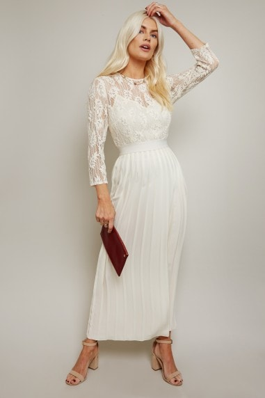 Simona Cream Lace Pleated Midaxi Dress