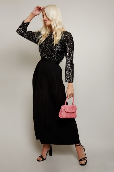 Alina Black Sequin Pleated Midaxi Dress