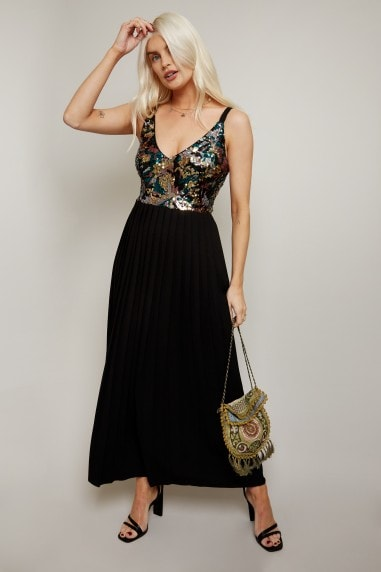 Nikita Black Sequin Pleated Midaxi Dress