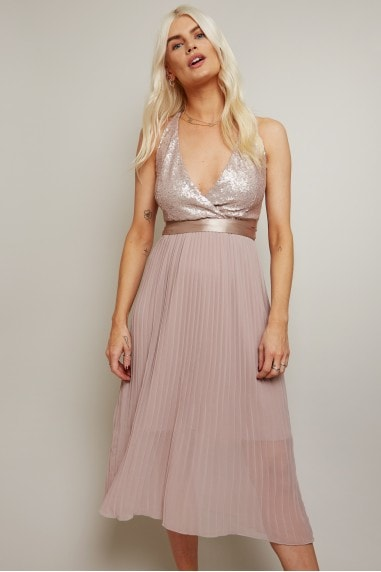 Bridesmaid Serena Mink Sequin Pleated Midi Dress