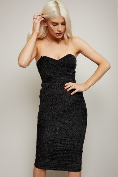 Inessa Black Glitter Mesh Bandeau Midi Dress