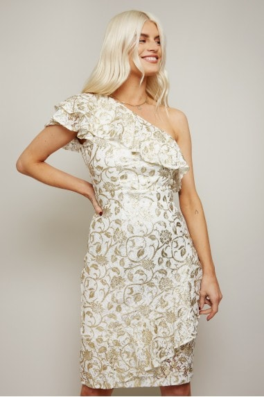 Dalston White Lace Gold Foil One-Shoulder Frill Dress