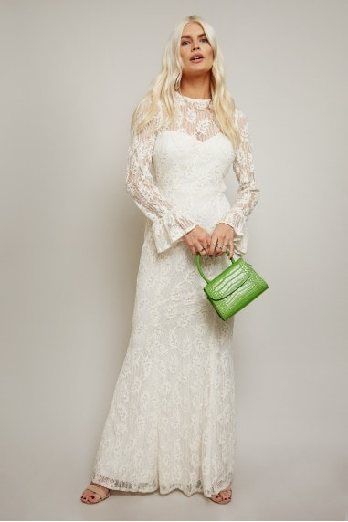 Aurora White Velvet Lace Fishtail Maxi Dress