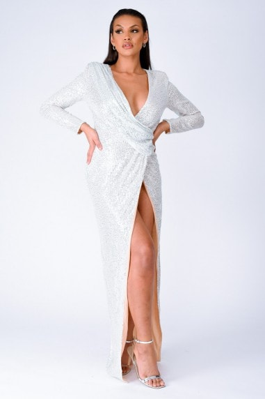 Gleaming Goddess Silver Sequin Plunge Wrap Slit Maxi Dress
