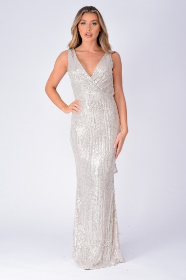 The One Silver Sequin Plunge Backless Maxi Dress