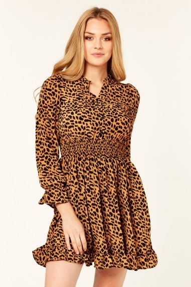 Shirred Waist Mini Dress in Leopard Print