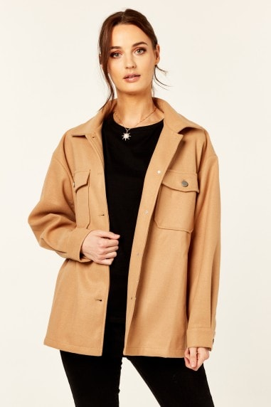 Camel Oversized Pocket Detail Shacket