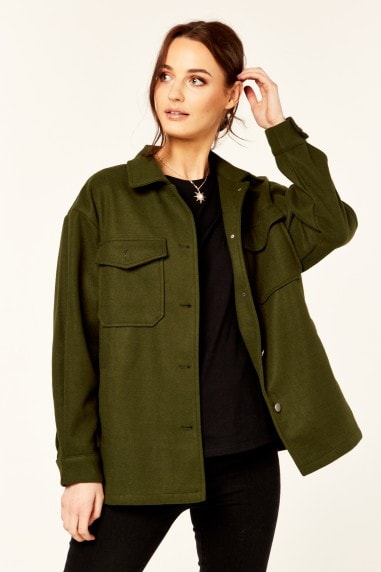 Khaki Oversized Pocket Detail Shacket