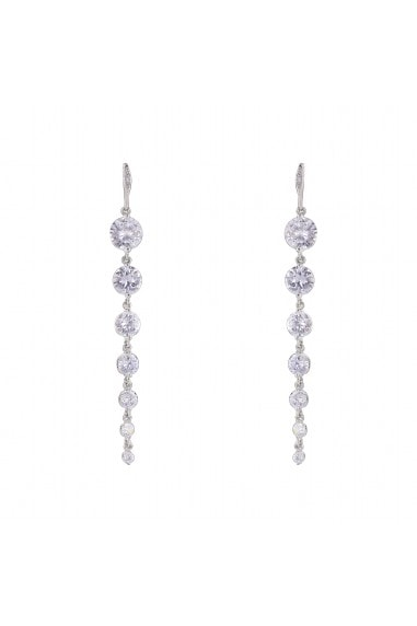 LONG TAPERED 7 CZ STONE EARRING