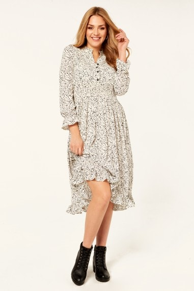 Dalmation Print Elastic Waist Midi Dress in White