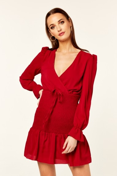 Red Ruched Waist Tie Dress