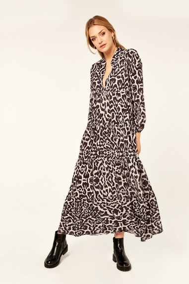 Animal Print Black Long Sleeve Tiered Maxi Dress