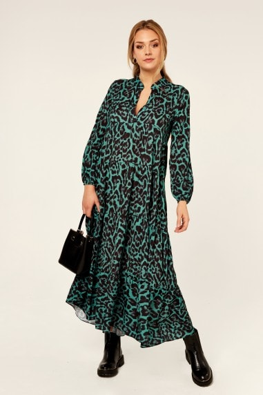 Animal Print Green Long Sleeve Tiered Maxi Dress