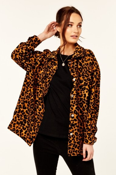 Yellow Leopard Print Oversized Pocket Detail Shacket