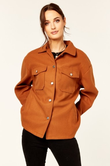 Rust Oversized Pocket Detail Shacket