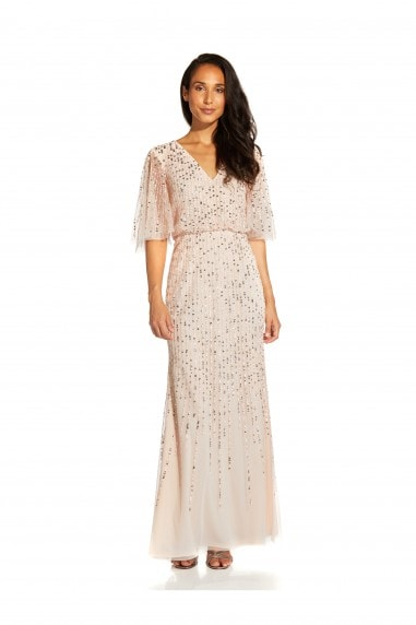 Beaded Covered Blouson Gown