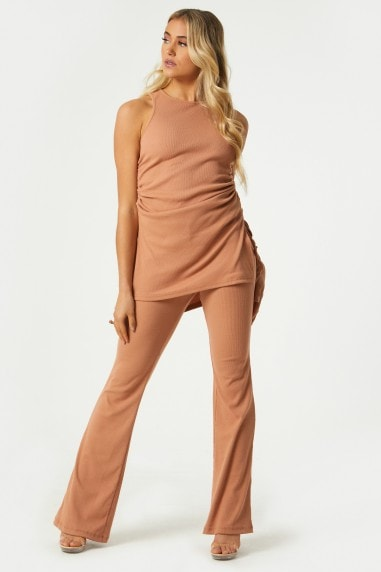 Mylan Camel Ribbed Flared Trousers Co-ord