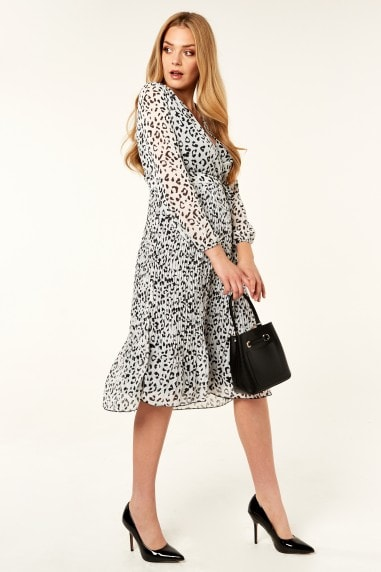 Cream Animal Print Wrap long sleeve Pleated dress