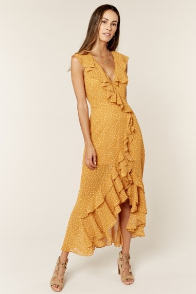 Polka Dot Yellow Ruffle Detail Wrap Dress